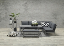 Set Rondo lounge dining 6 delig grey